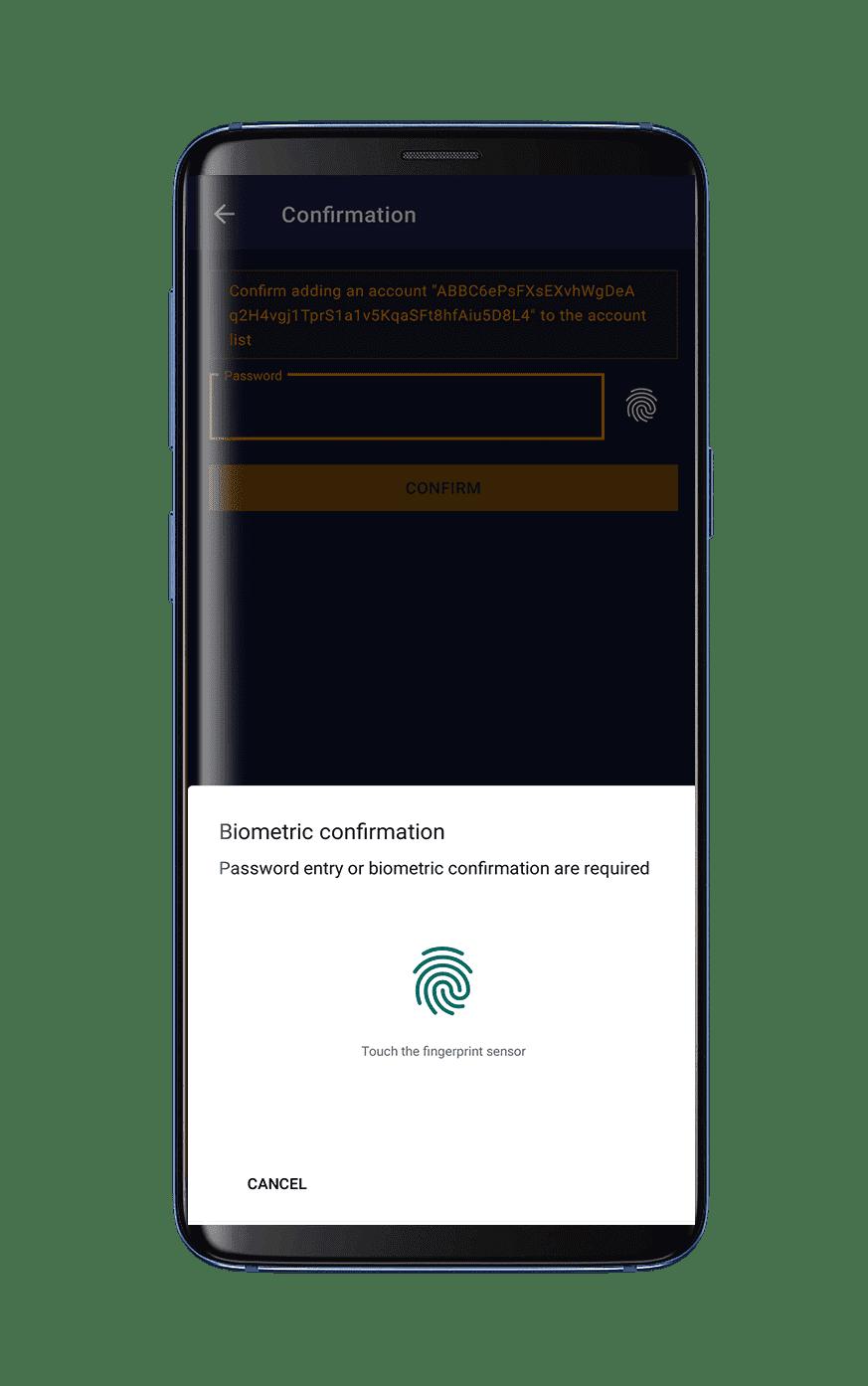 Fingerprint cryptocurrency wallet